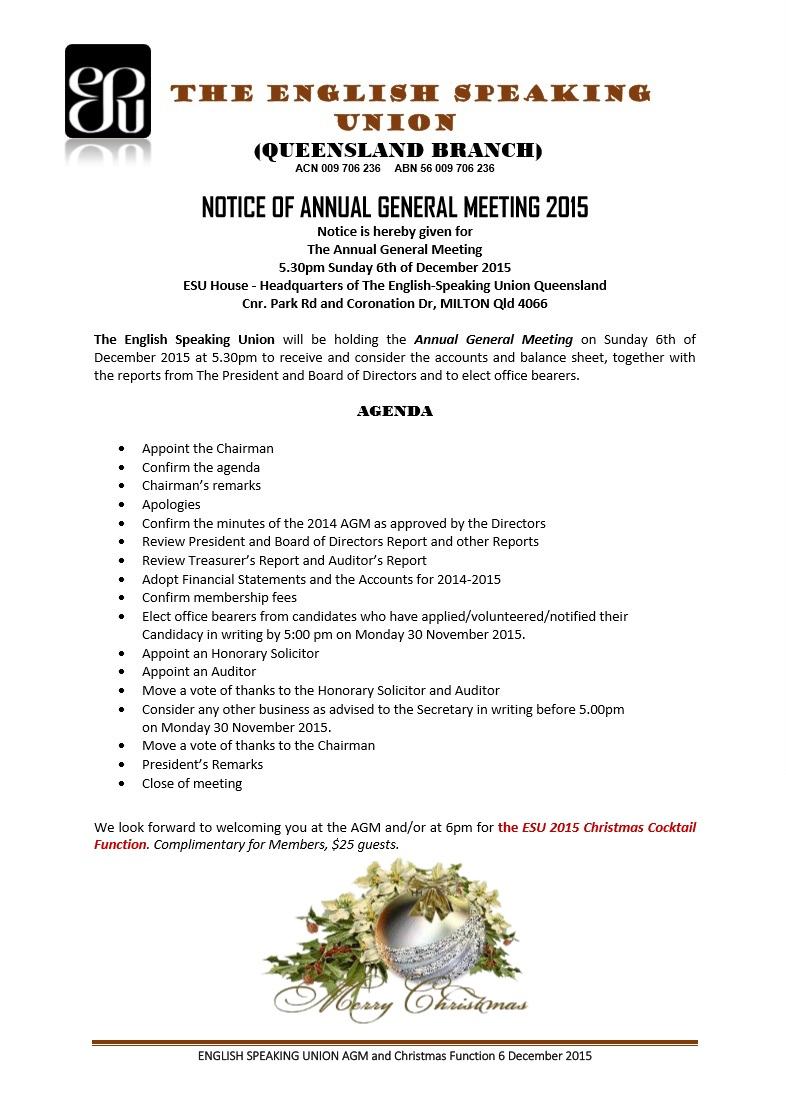 Notice of AGM meeting